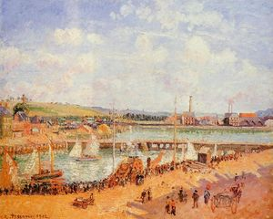 Camille Pissarro - Le port de Dieppe, le Dunquesne et Berrigny Bassins: High Tide, Sunny Afternoon