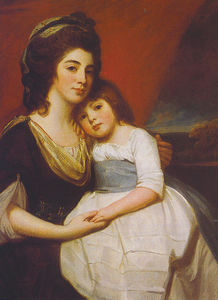 George Romney - un portrait de lady georgiana smyth et enfant
