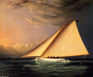 James Edward Buttersworth - A yacht racing on les grands Austral Bay