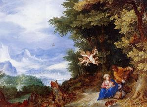 Jan Brueghel The Elder - le repos sur l' vol `to` egypte