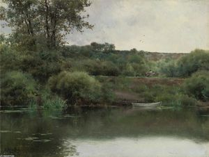 Emilio Sanchez-Perrier - Un Riverbank à Poissy