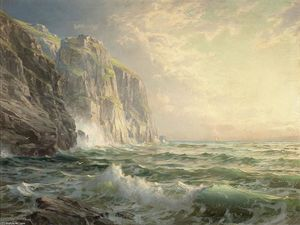 William Trost Richards - Rocky falaise avec  orageux  mer  Cornouailles