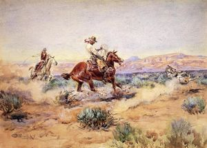 Charles Marion Russell - Roping un loup