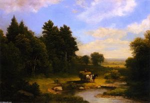 Asher Brown Durand - Paysage rural avec Hay Wagon