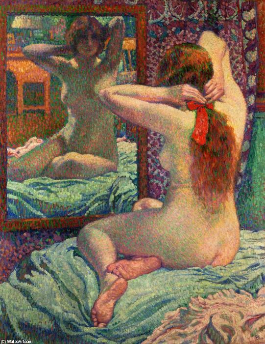 Le ruban écarlate, huile sur toile de Theo Van Rysselberghe (1862-1926, Belgium)