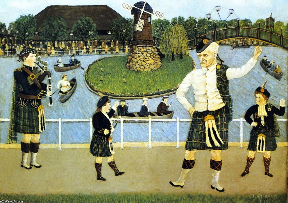 Jour Scotch à Kennywood, 1933 de John Kane (1860-1934, Scotland) | Reproductions D'œuvres D'art John Kane | WahooArt.com