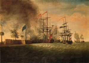 James Peale - L attaque de Sir Peter Parker contre Fort Moultrie