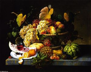 Severin Roesen - nature morte avec panier de  fruits