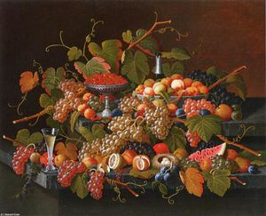 Severin Roesen - Nature morte avec fruits et  champenois