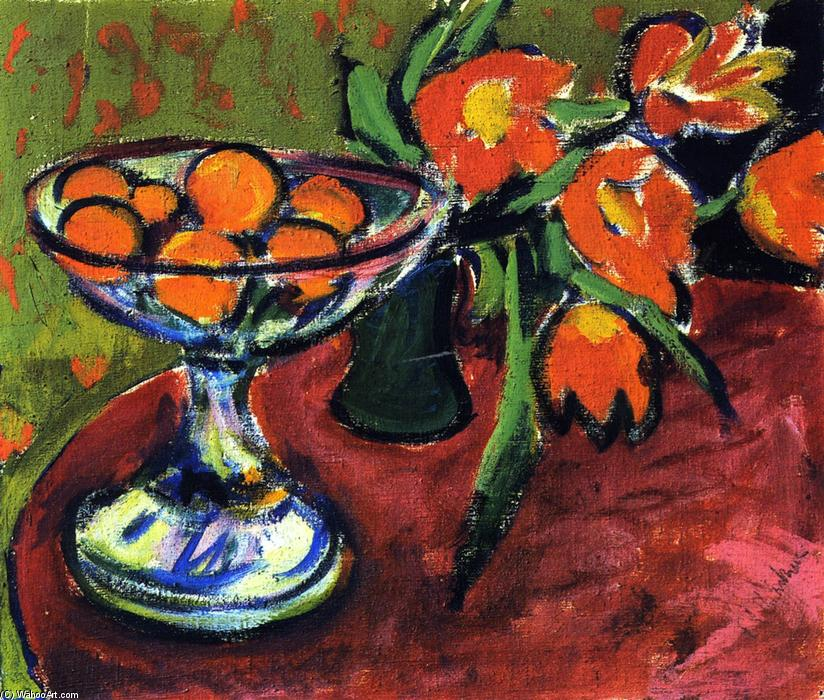 Nature morte aux oranges et tulipes, 1909 de Ernst Ludwig Kirchner (1880-1938, Germany) | Copie Tableau | WahooArt.com
