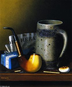 William Michael Harnett - Still Life with Tuyau and Nouveaux York Herald
