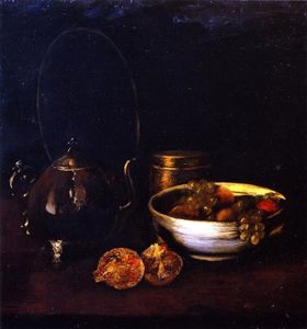 William Merritt Chase - nature morte avec thé  chaudron  et  fruits