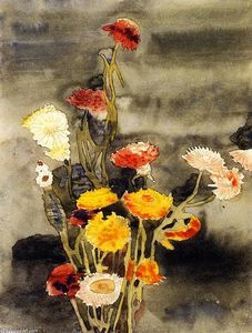 Charles Demuth - Strawflowers ( aussi connu as Fleurs #2 )