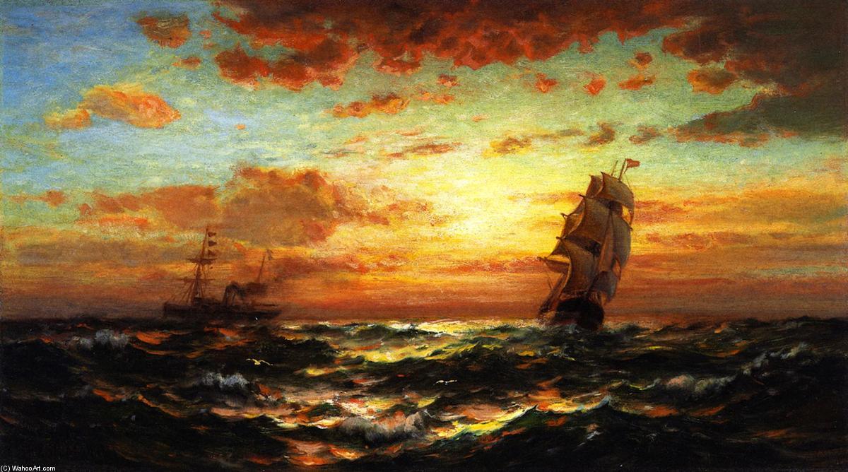 Coucher du soleil marins huile sur panneau de edward - L heure du coucher du soleil aujourd hui ...