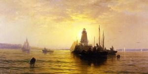 Edward Moran - Coucher du soleil , baie de new york