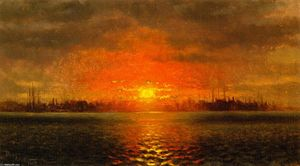 John George Brown - Coucher du soleil , port de new york