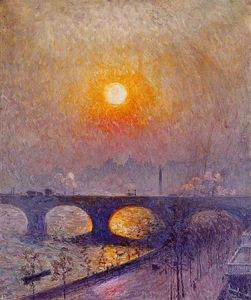 Emil Claus - Coucher du soleil plus  Pont de Waterloo