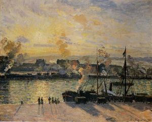 Camille Pissarro - Sunset , le port of Rouen ( aussi connu as Steamboats )