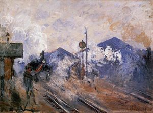 Claude Monet - Piste sortant de la gare Saint-Lazare - (copie de tableau)