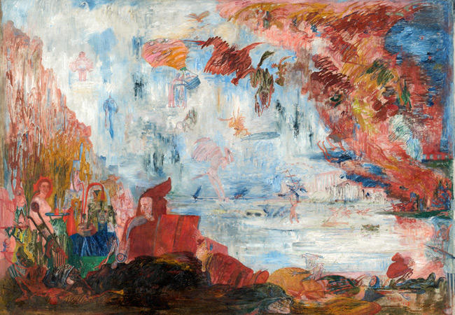 Tribulations de Saint Anthony, huile sur toile de James Ensor (1860-1949, Belgium)