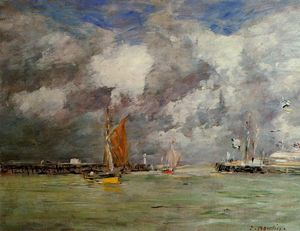 Eugène Louis Boudin - Trouville, la jettys, High Tide