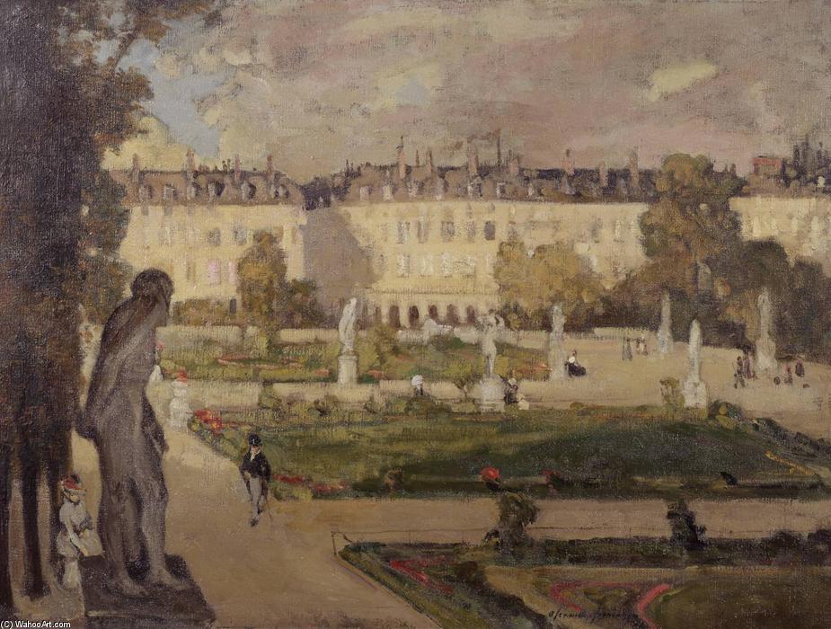 Le jardin des Tuileries et la rue de Rivoli, 1901 de Alexander Jamieson (1873-1937, United Kingdom) | Reproductions D'art De Musée Alexander Jamieson | WahooArt.com