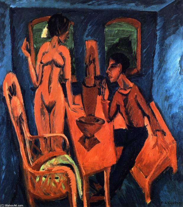 Turmzimmer, Selbstbildnis mit Erna, 1913 de Ernst Ludwig Kirchner (1880-1938, Germany) | Reproduction Peinture | WahooArt.com