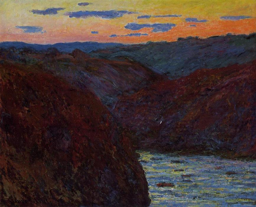 Vallée de la Creuse Coucher du soleil, 1889 de Claude Monet (1840-1926, France) | Reproductions D'art De Musée Claude Monet | WahooArt.com