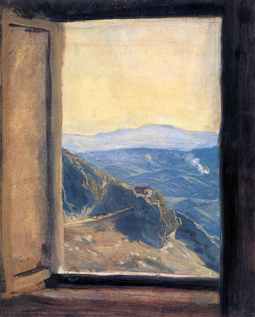 Vue partir d 39 un fen tre peinture de friedrich wasmann for Peinture sur fenetre