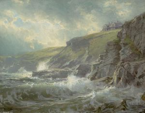 William Trost Richards - Vue de Artist-s Maison , Graycliff , Newport easton , Rhode Île