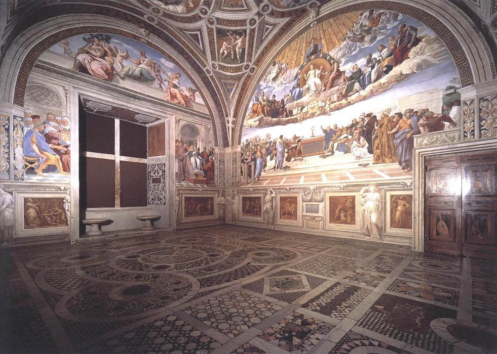 vue de la chambre de la signature fresques de raphael raffaello sanzio da urbino 1483 1520. Black Bedroom Furniture Sets. Home Design Ideas