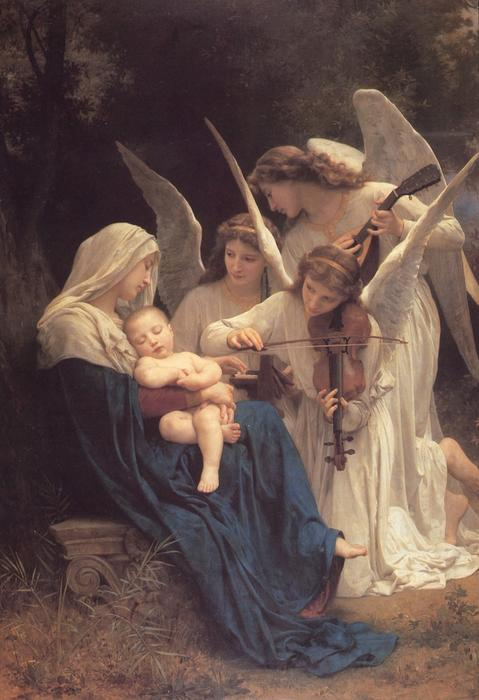 la vierge avec anges, 1881 de William Adolphe Bouguereau (1825-1905, France) | Copie Tableau | WahooArt.com