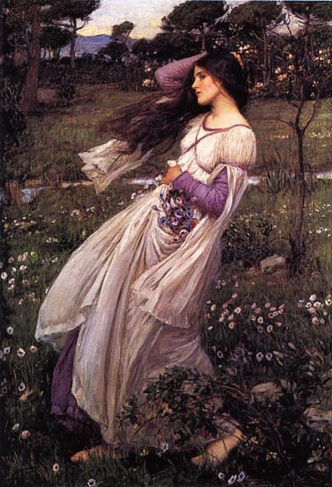 Windflowers, 1902 de John William Waterhouse (1849-1917, Italy) | Reproductions De Qualité Musée John William Waterhouse | WahooArt.com