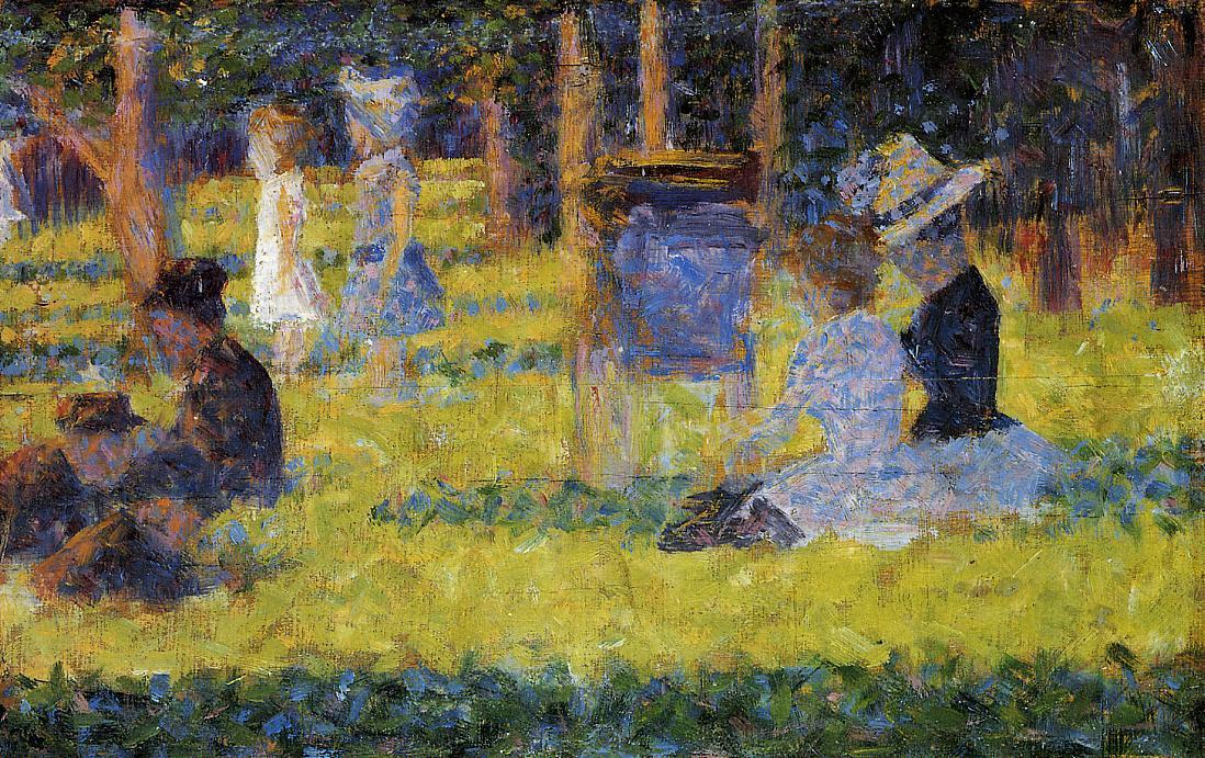 femme assis et  bébé  transport , 1884 de Georges Pierre Seurat (1859-1891, France)