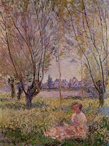 Claude Monet - femme assis sous l- `willows`
