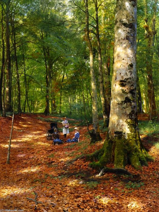 Achat Reproductions D'œuvres D'art | Le Woodland Glade, 1883 de Peder Mork Monsted (1859-1941, Denmark) | WahooArt.com