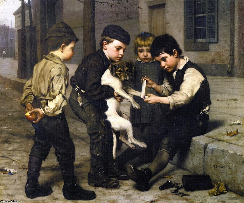 Le Playfellow blessés, 1884 de John George Brown (1831-1913, United Kingdom) | Reproductions De Qualité Musée John George Brown | WahooArt.com