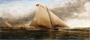 James Edward Buttersworth - yacht course off castle Jardin , new york