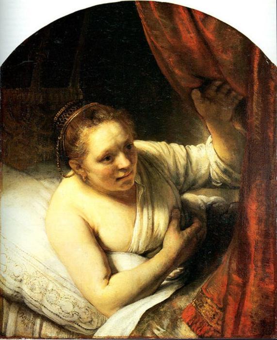 jeune femme au lit aussi connu comme sarah attente pour tobias huile sur toile de rembrandt. Black Bedroom Furniture Sets. Home Design Ideas