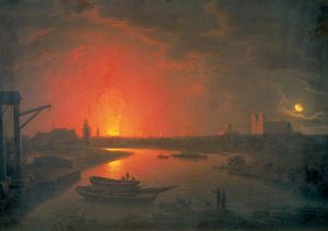 Abraham Pether - Old Drury Lane Theatre On Fire