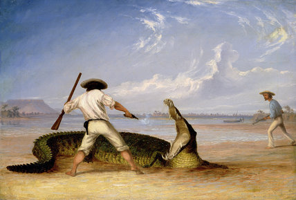 T.Baines Et C.Humphrey tuer un alligator de Thomas Baines (1820-1875, United Kingdom)