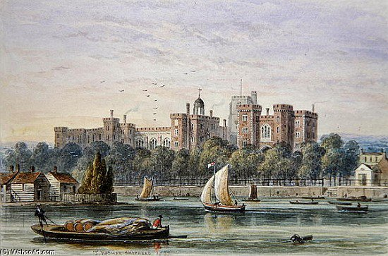 vue d lambeth palace de  au  tamise  de Thomas Hosmer Shepherd (1792-1864, United Kingdom)
