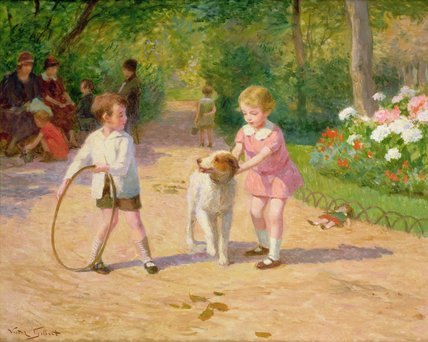 Playing With The Hoop de Victor Gabriel Gilbert (1847-1933, France) | WahooArt.com