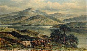 William Langley - Highland Paysage avec un berger de vache