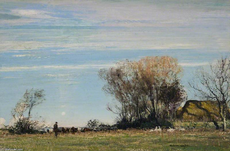 A Sunny Meadow de William Page Atkinson Wells (1871-1923, United Kingdom) | Reproductions De Qualité Musée | WahooArt.com