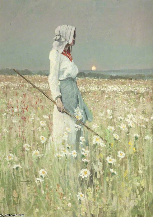 Paysage Fille dans une prairie de William Page Atkinson Wells (1871-1923, United Kingdom) | Reproduction Peinture | WahooArt.com