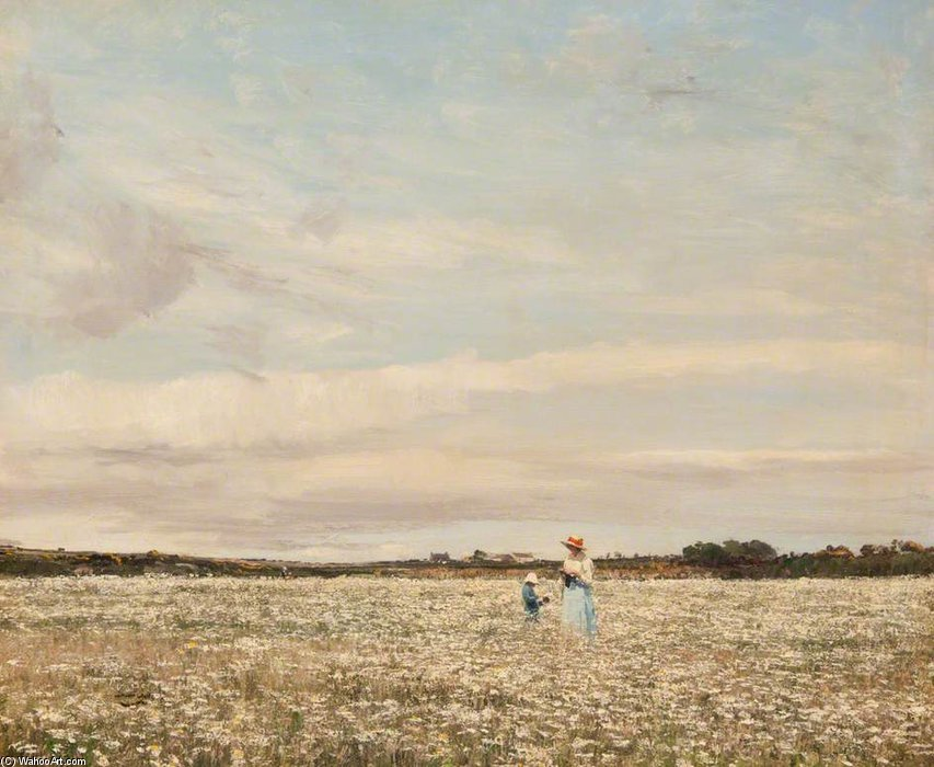 Margeurites dans le prairie de William Page Atkinson Wells (1871-1923, United Kingdom)