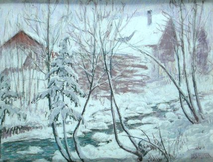 Chalets dans la neige de William Samuel Horton (1865-1936, United States) | Reproductions D'art Sur Toile | WahooArt.com