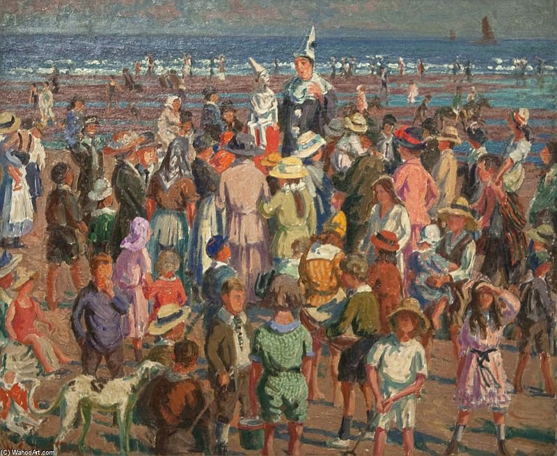 Percez sur la plage de Broadstairs de William Samuel Horton (1865-1936, United States) | Reproductions De Qualité Musée | WahooArt.com