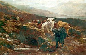 William Watson - Paysage écossais, Highland Cattle